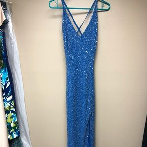 Sequined gown sz 5/6 with low back.